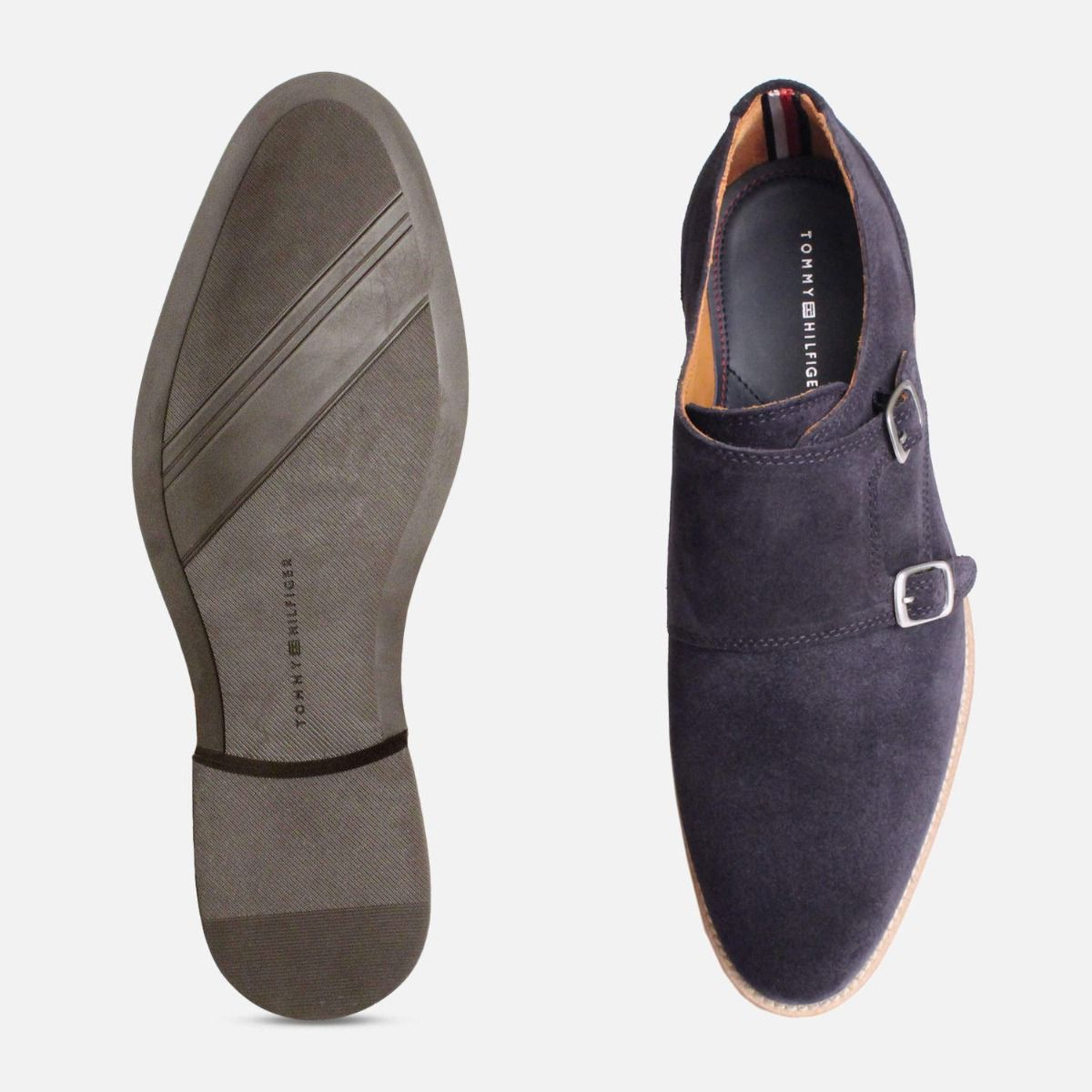 Monk Strap Tommy Hilfiger Shoes in Navy Blue Suede