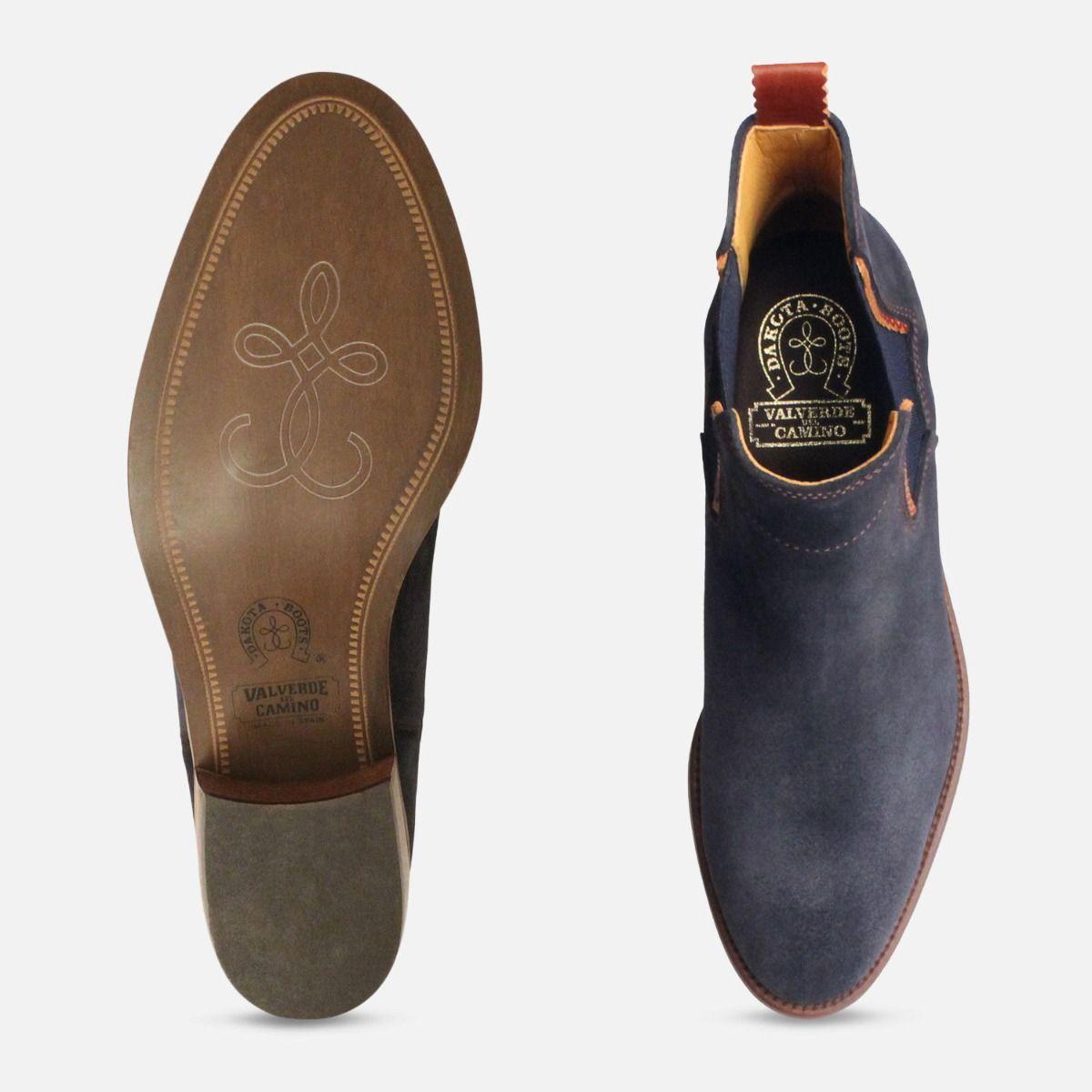 Cuban Heel Ladies Chelsea Boots in Navy Blue Suede