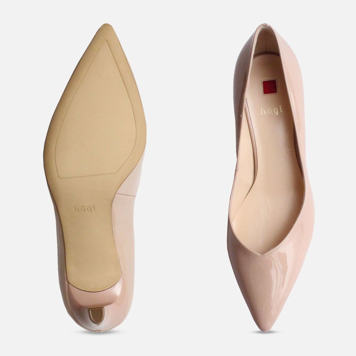0976045dbe6 Nude Patent Hogl Pointed Toe Medium Heel Shoes
