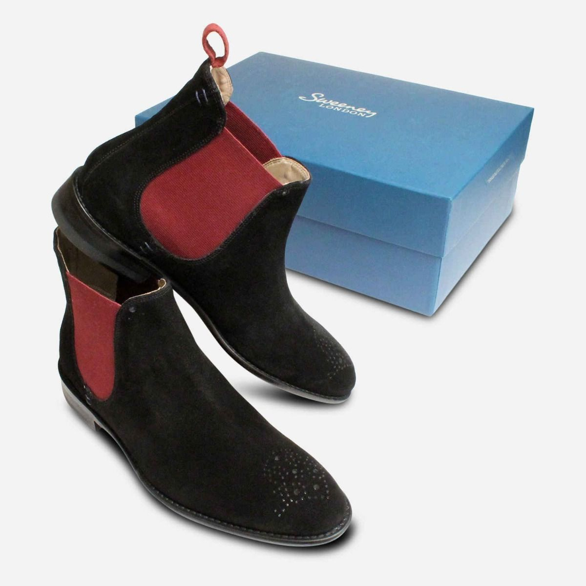 Black Suede & Burgundy Oliver Sweeney Chelsea Boots