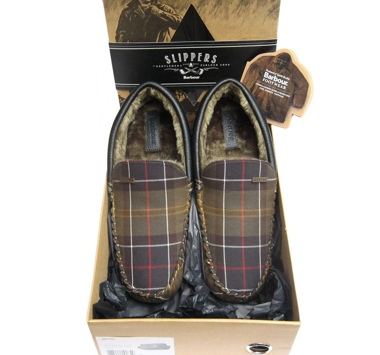Barbour Mens Monty Check Slipper with Fur Lining