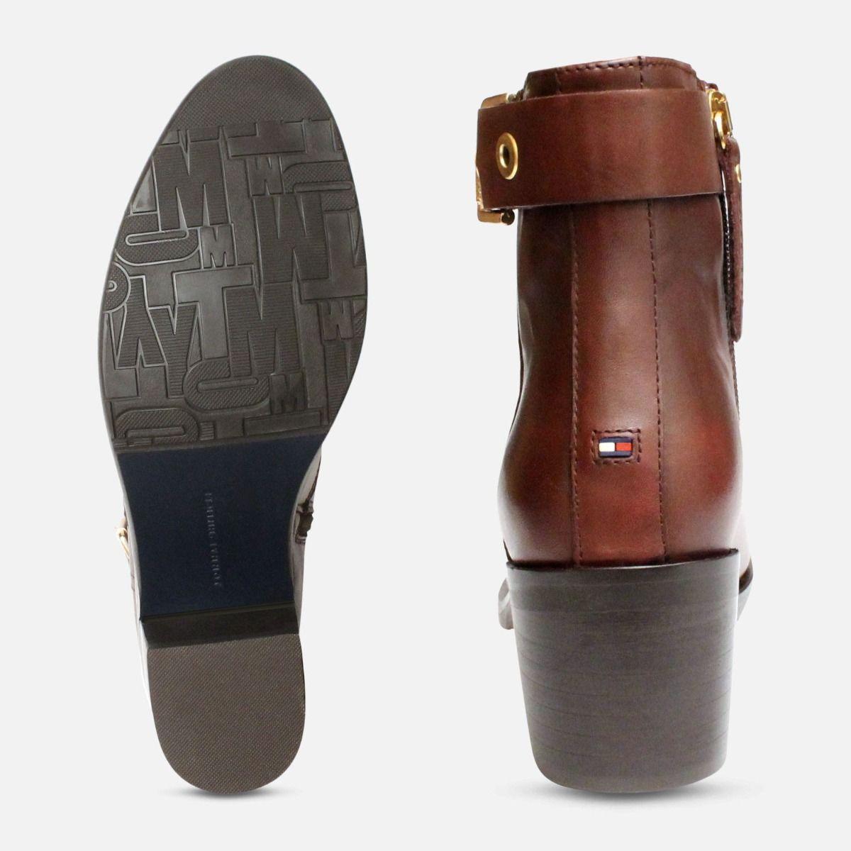 speziell für Schuh großer Rabatt Wählen Sie für echte Coffee Brown Tommy Hilfiger Parson Buckle Boots