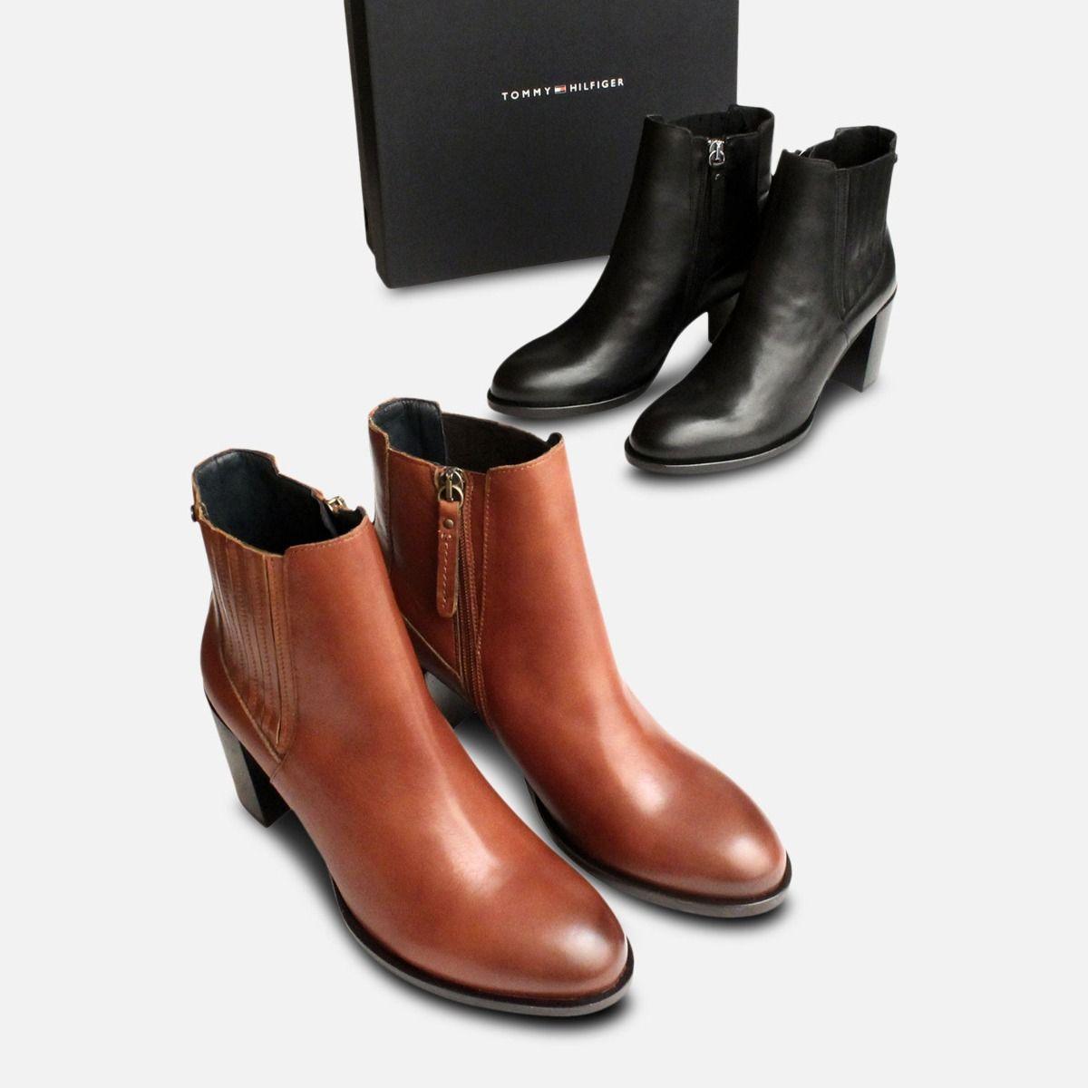 Cognac Brown Heeled Tommy Hilfiger Penelope Boots
