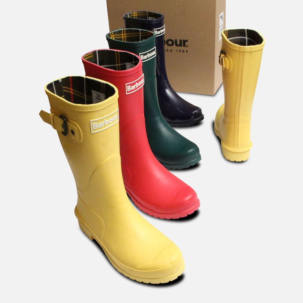 Purple Barbour Short Wellington Primrose Boots