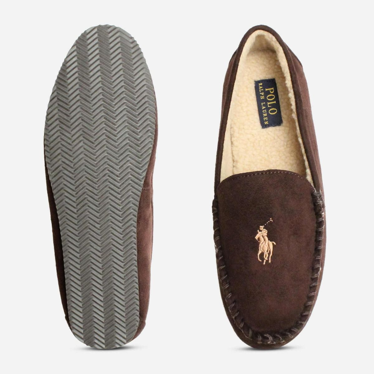 4e0ac259f ... Ralph Lauren Polo Mens Slippers in Chocolate Brown ...