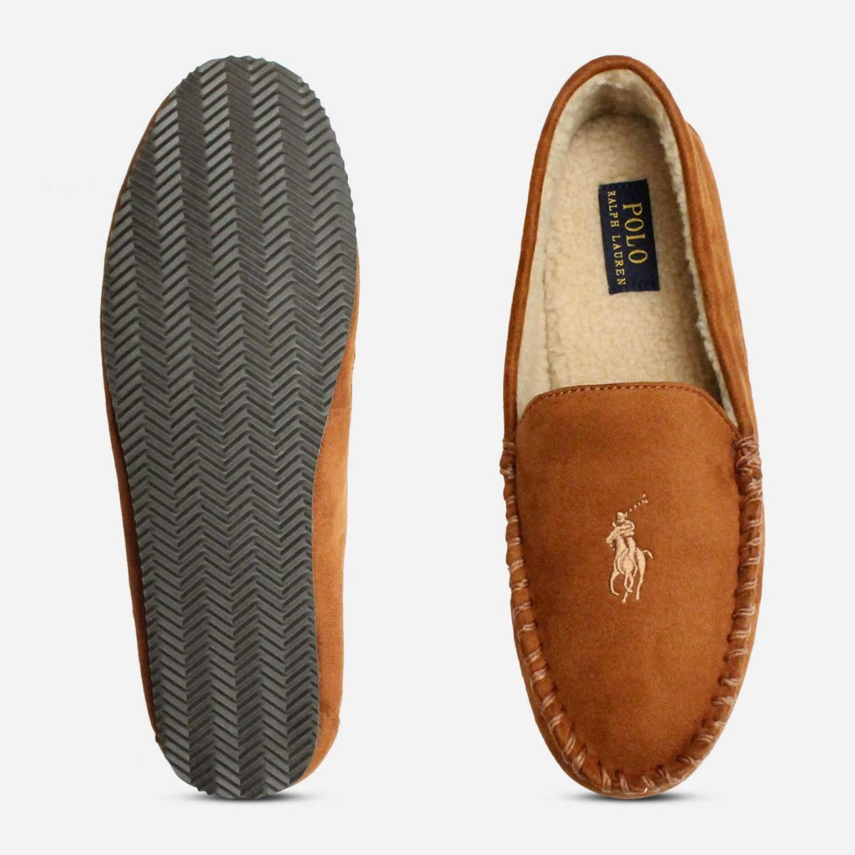 Ralph Lauren Polo Dezi 4 Snuff Brown Mens Slippers