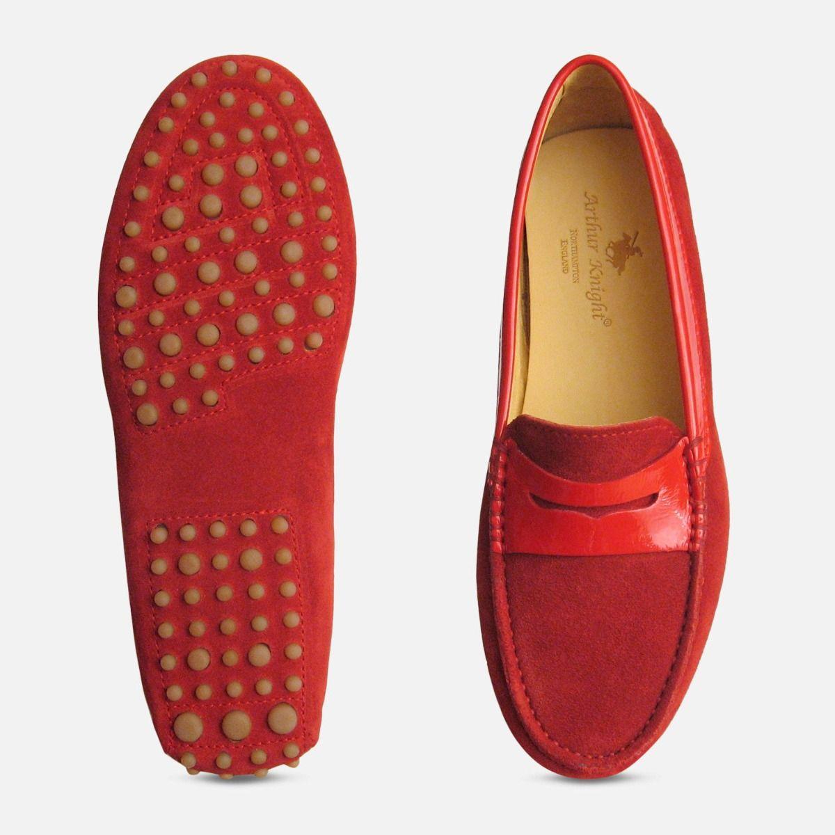 Crimson Red Suede & Patent Arthur Knight Ladies Driving Shoe Moccasins