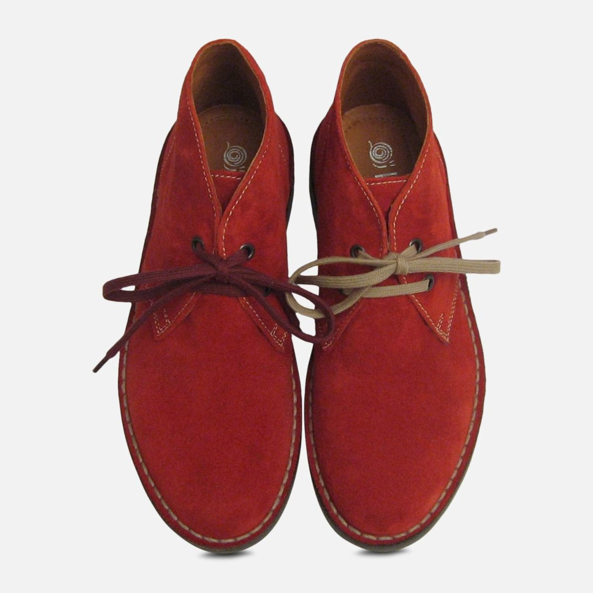 Womens Scarlet Red Suede Italian Desert Boots