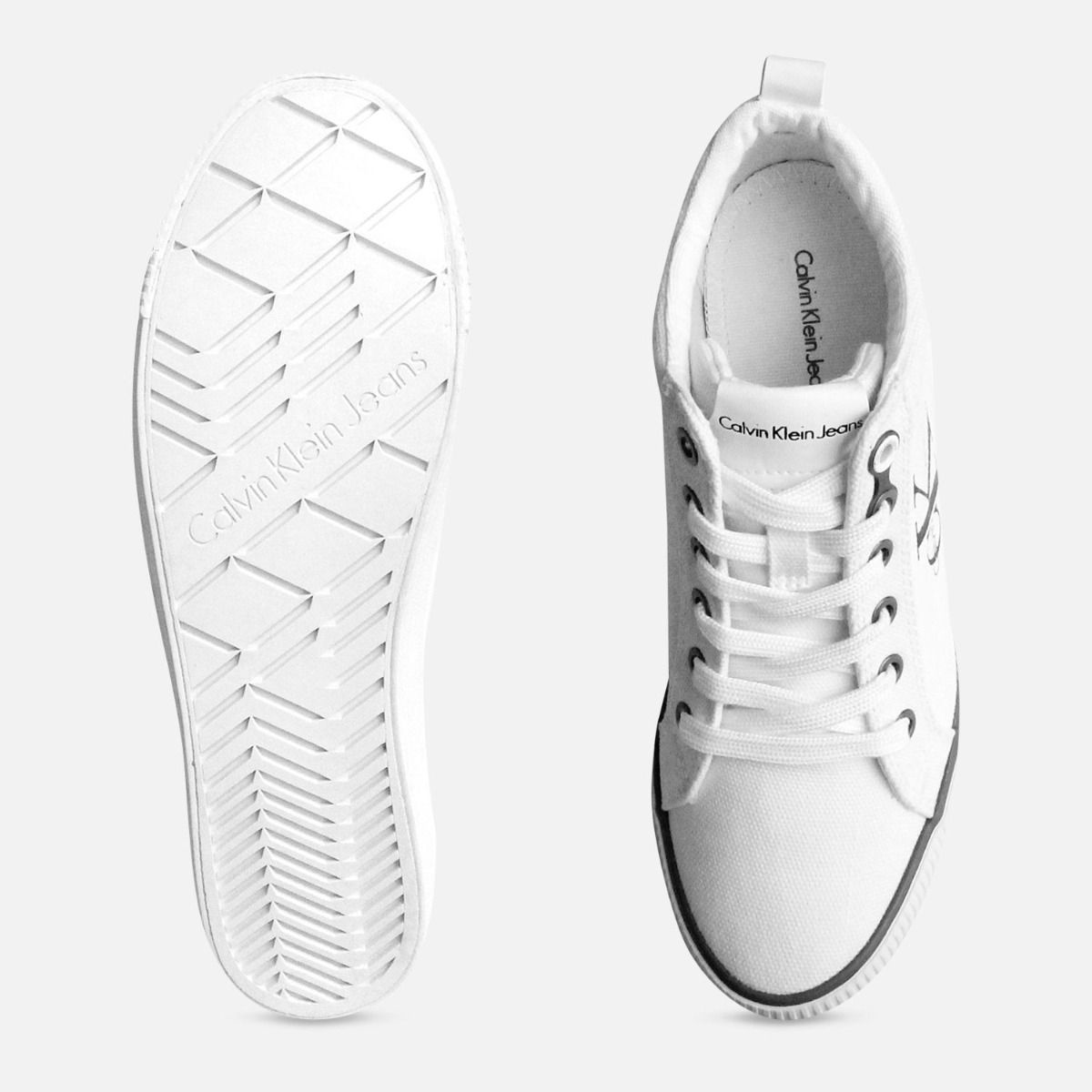 White Canvas Hidden Heel Calvin Klein Ritzy Trainer