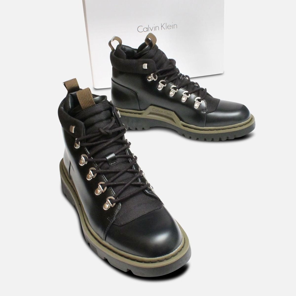 Exclusive Calvin Klein Mens Black Cargo Boots