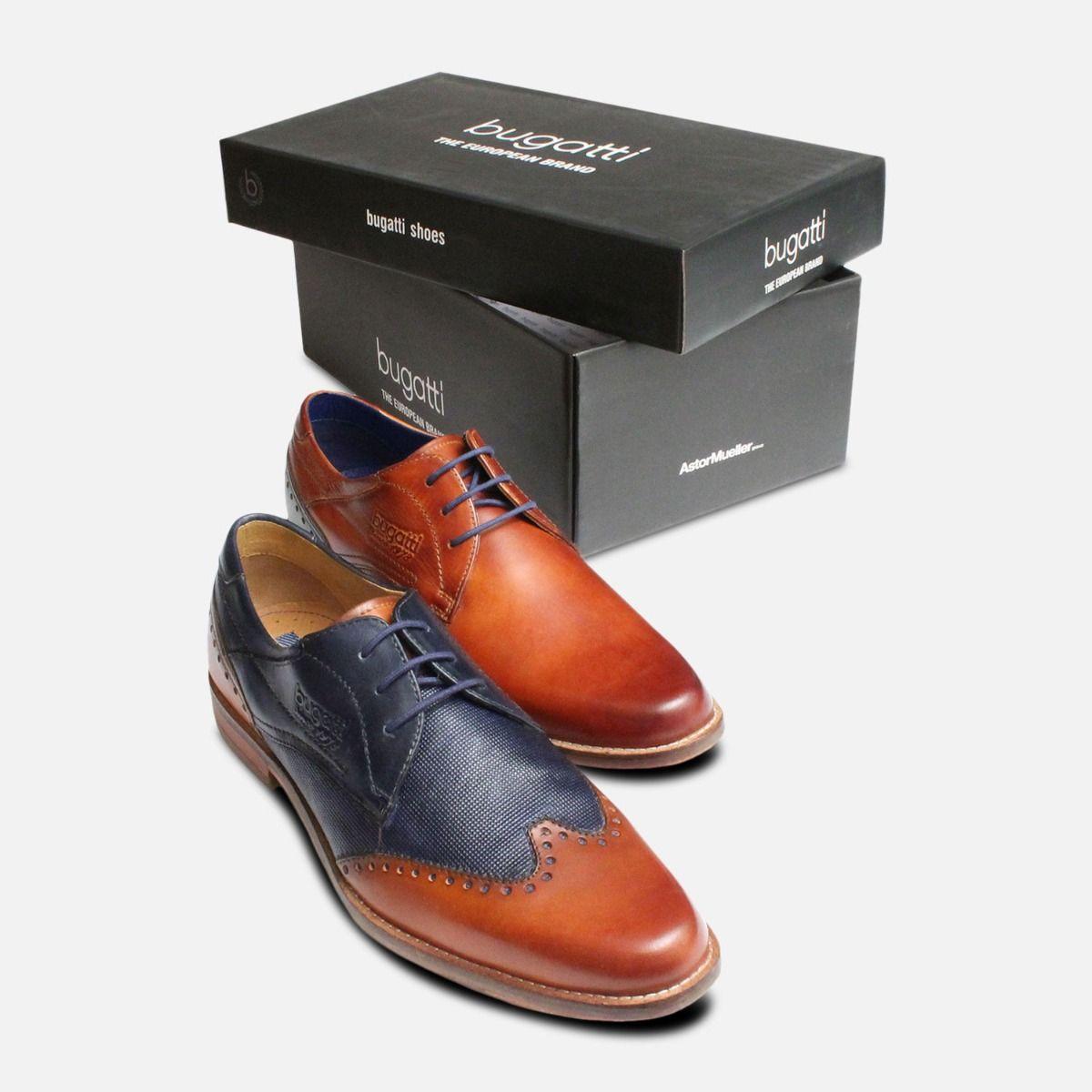 Plain Toe Light Brown Formal Mens Bugatti Shoes