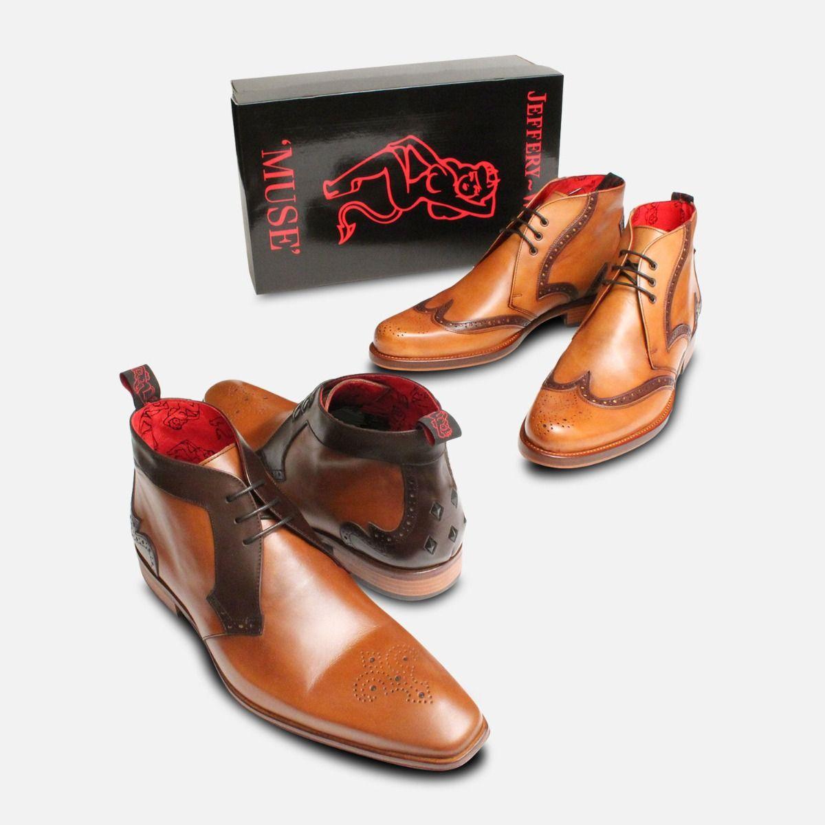 Jeffery West Round Toe Brogue Chukka Boots for Men
