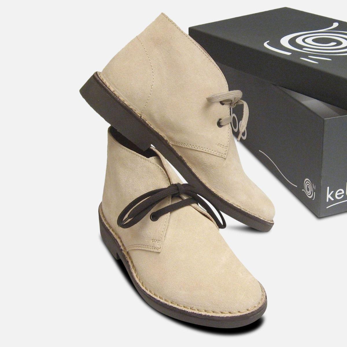 Papirus Beige Suede Italian Ladies Desert Boots