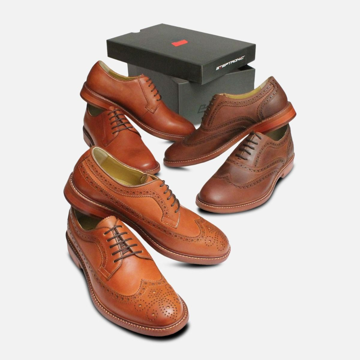 Steptronic Bath Mens Brown Wingcap Country Brogues