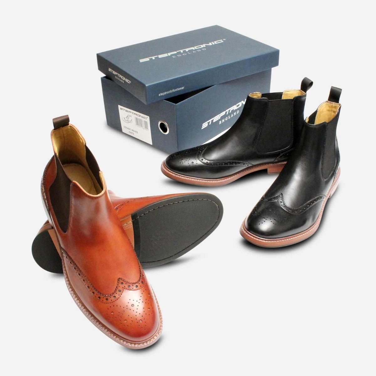 Steptronic Buckingham 2 Country Brogue Boot in Black