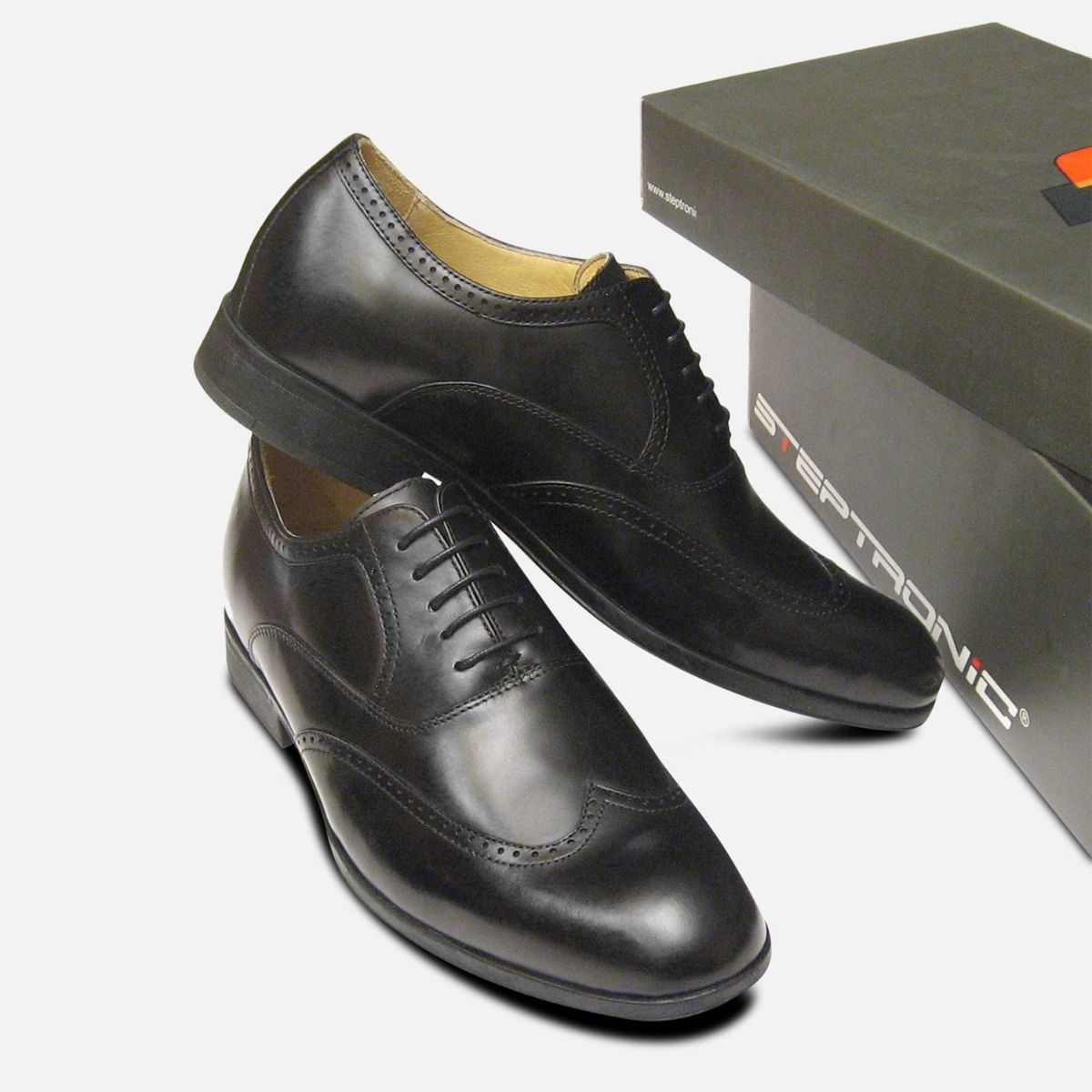 Steptronic Formal Black Wingcap Oxford Mens Lace Up Shoes