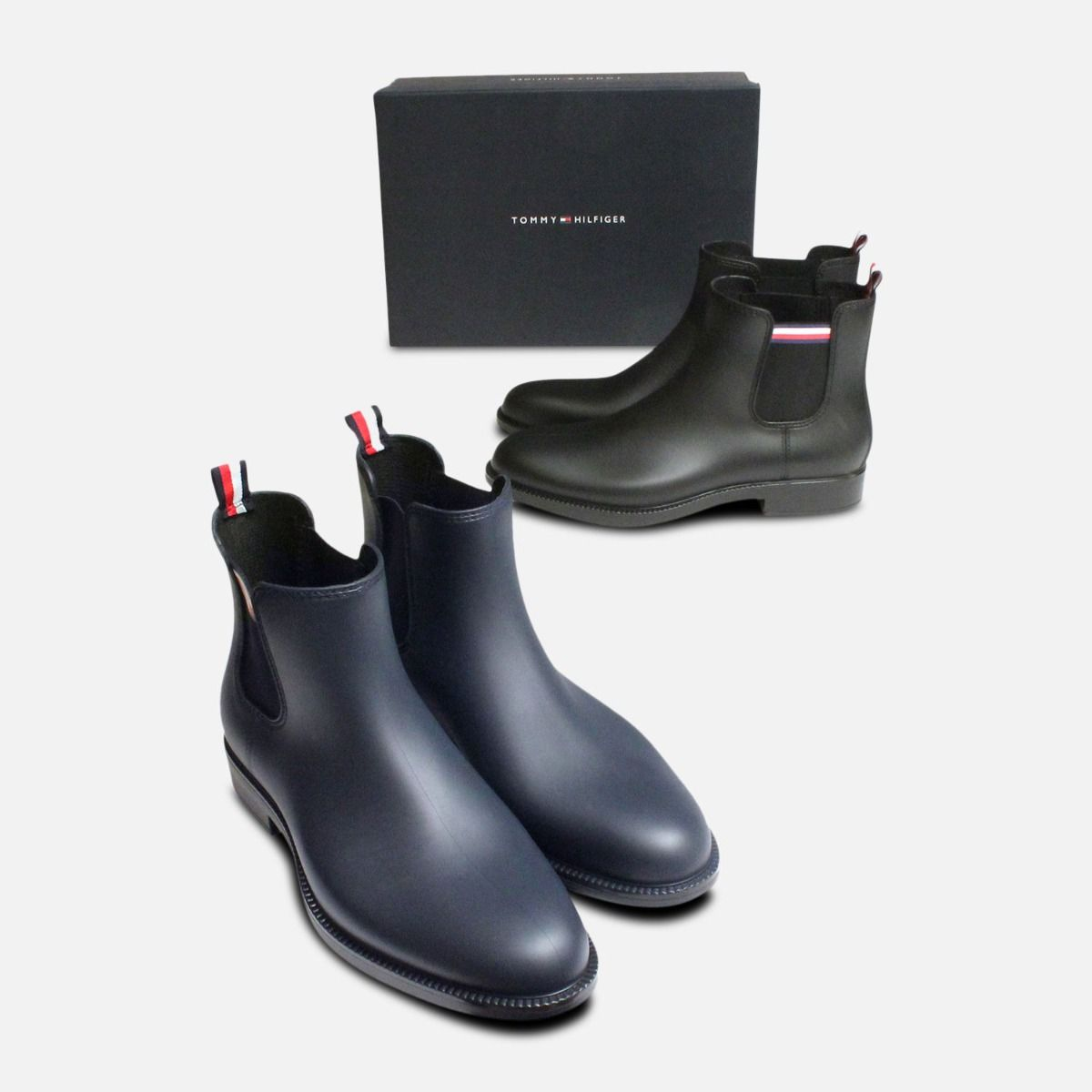 best service 3b5db 597f7 Navy Blue Tommy Hilfiger Stream Rubber Chelsea Welly