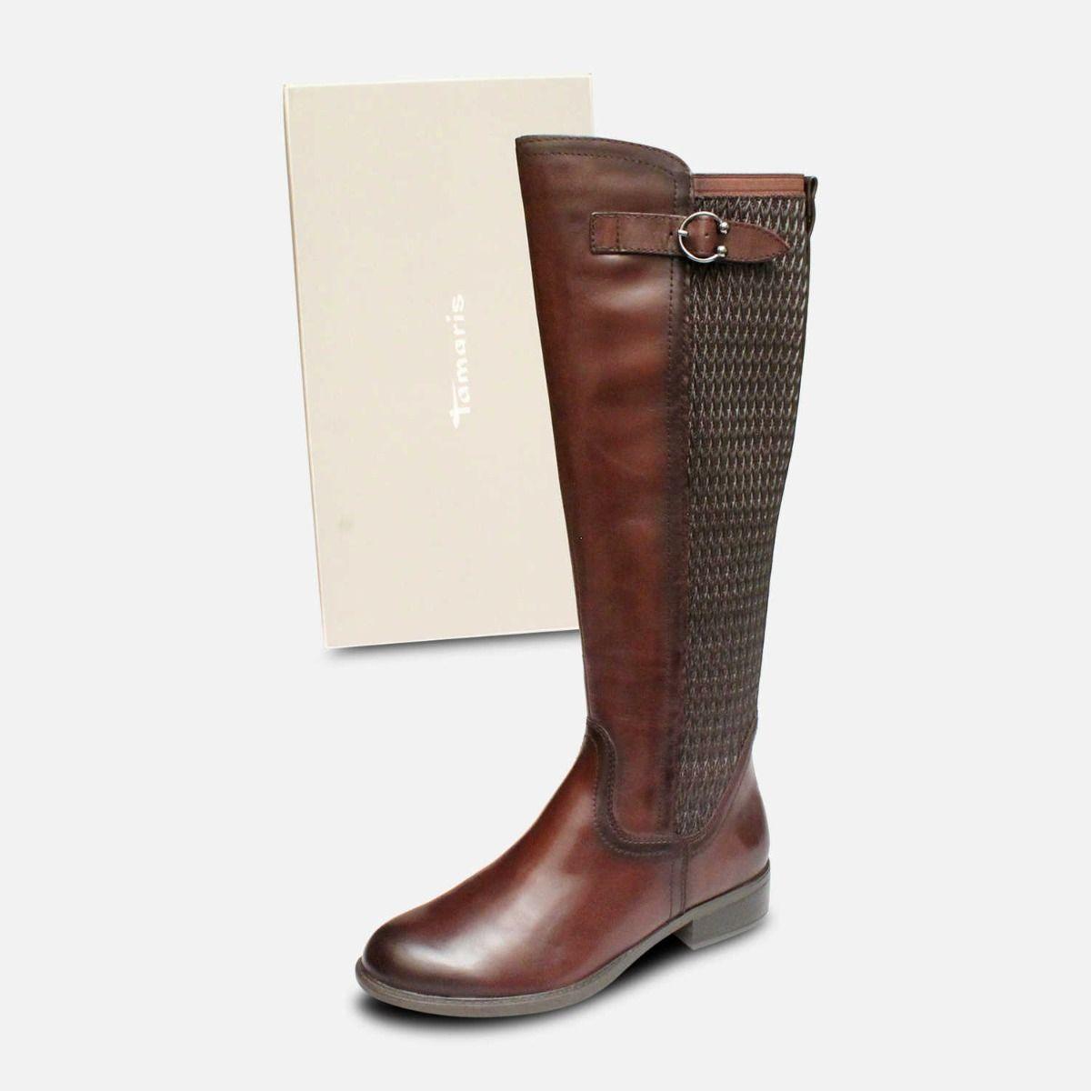 Tamaris Full Length Cafe Brown Elasticated Zip Boots