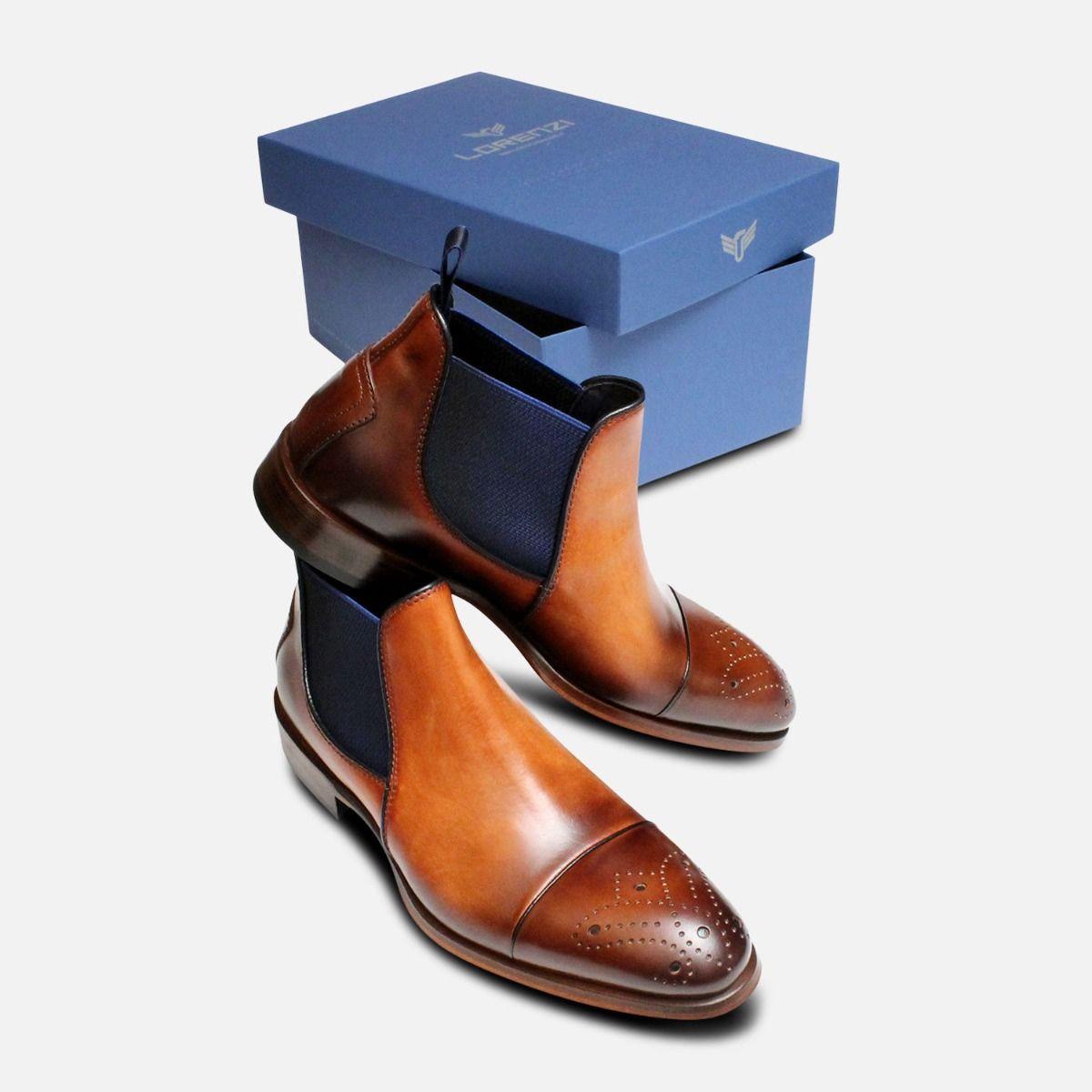 Designer Italian Brown & Blue Chelsea Boot Brogues