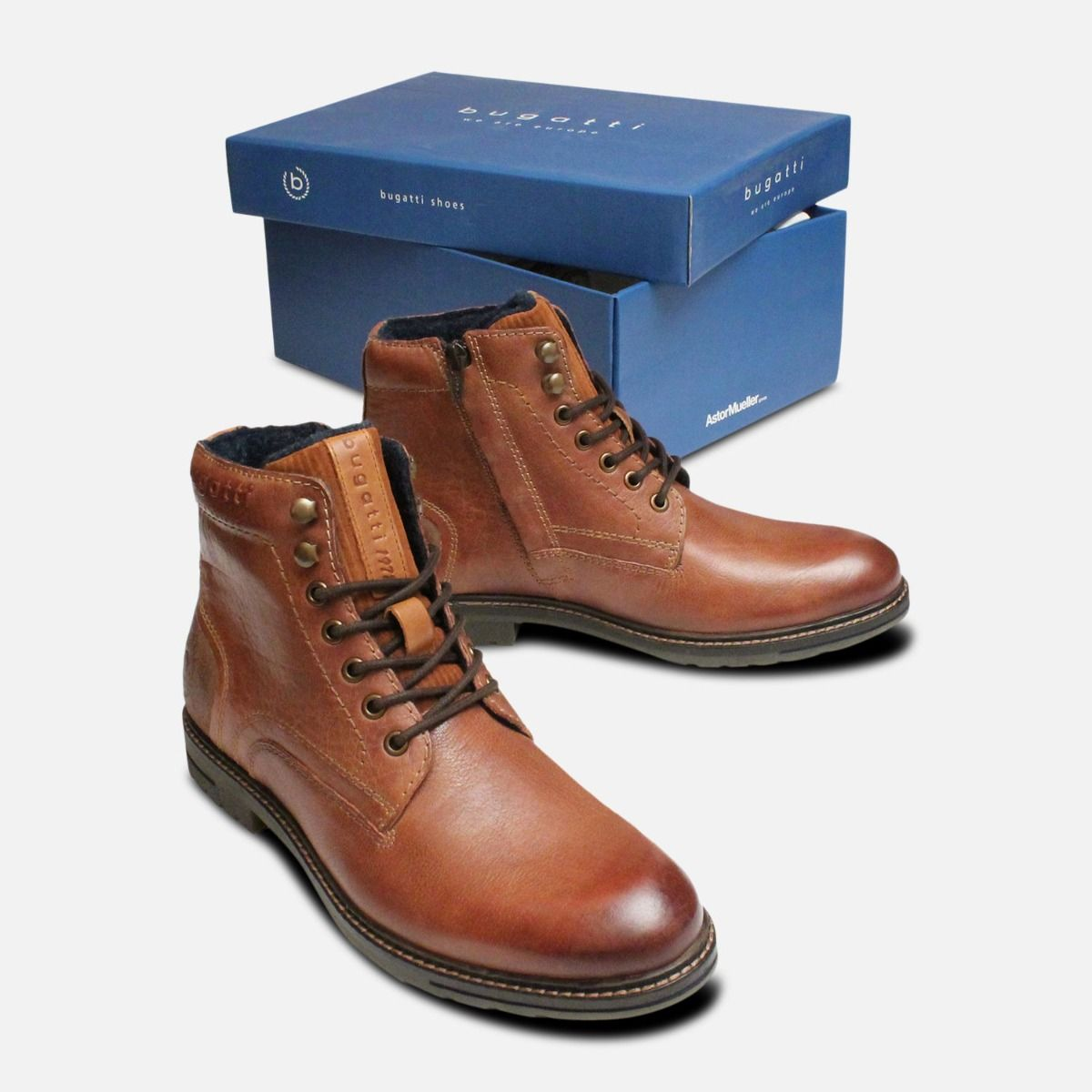 Commander Bugatti Warm Lined Mid Boots in Brown