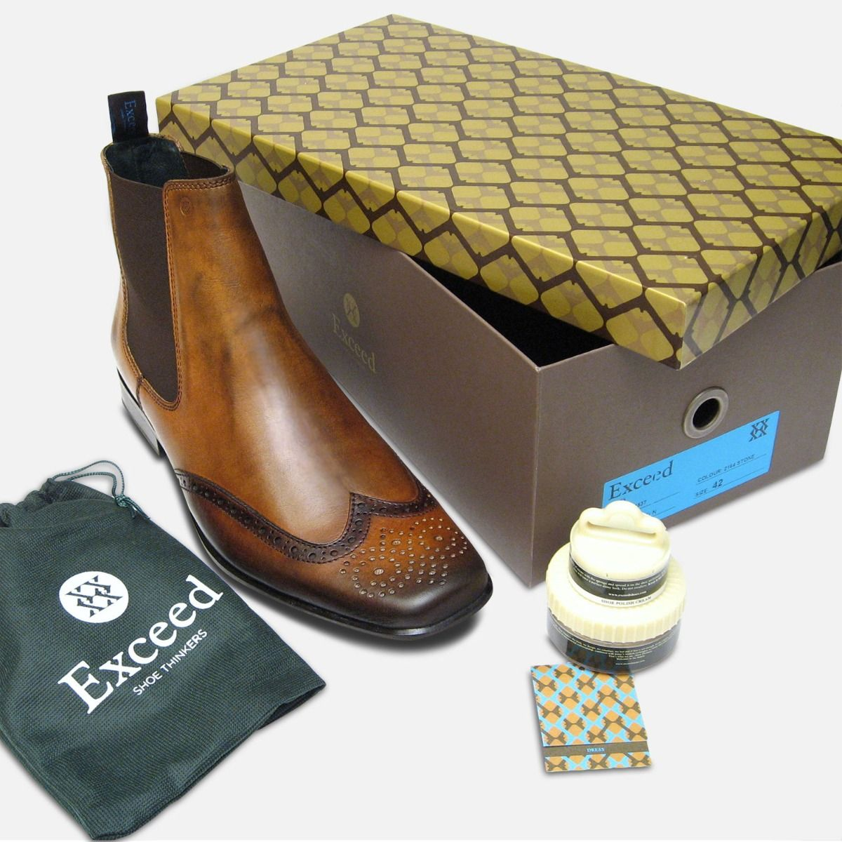Tan Leather Mens Chelsea Boots by Exceed