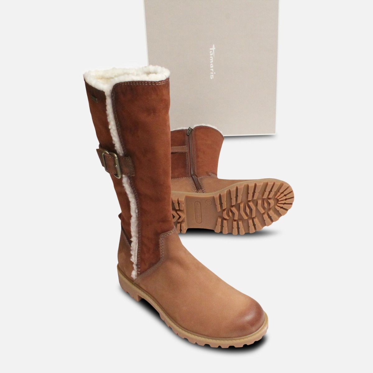 Brown & Tan Tamaris Side Zip Long Boots Duo-Tex