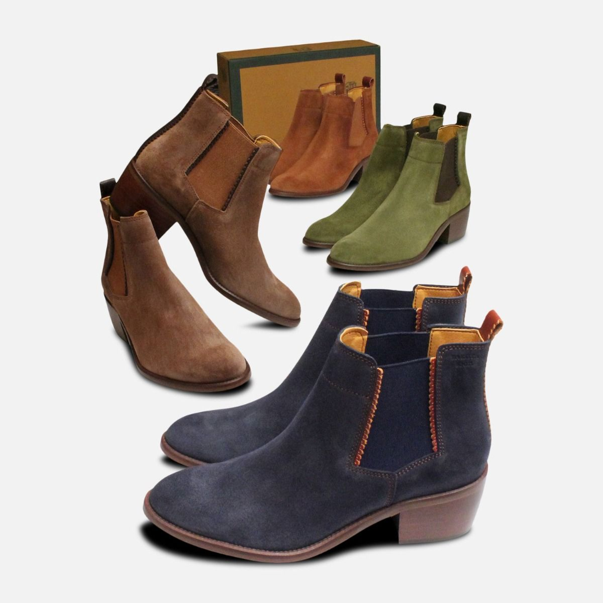 Ladies Cuban Heel Chelsea Boots in Tan Suede