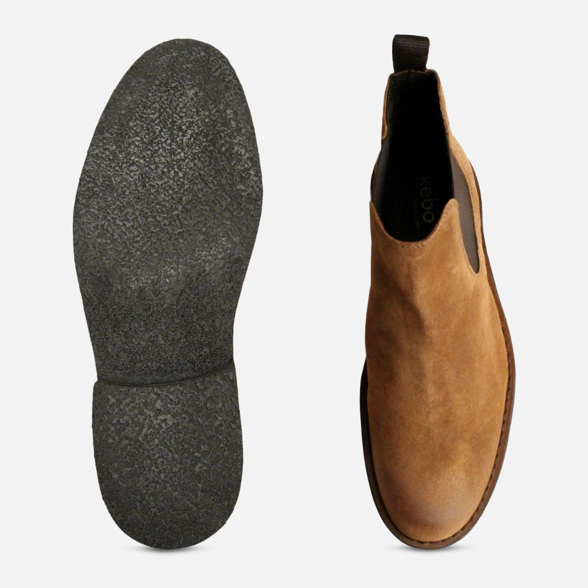 New Waxy Tobacco Suede Mens Slip On Boots