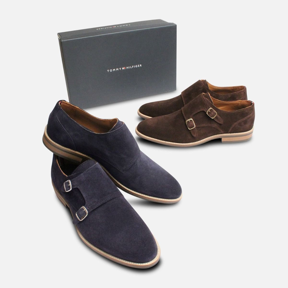 Brown Suede Double Buckle Monk Strap Tommy Hilfiger
