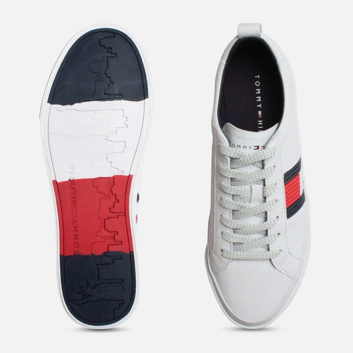 bf398f17b Tommy Hilfiger Flag Detail Leather White Sneakers