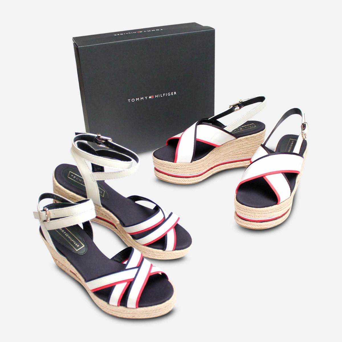 9550a1af9e6b Tommy Hilfiger Designer Flatform Sandals in Red White   Blue