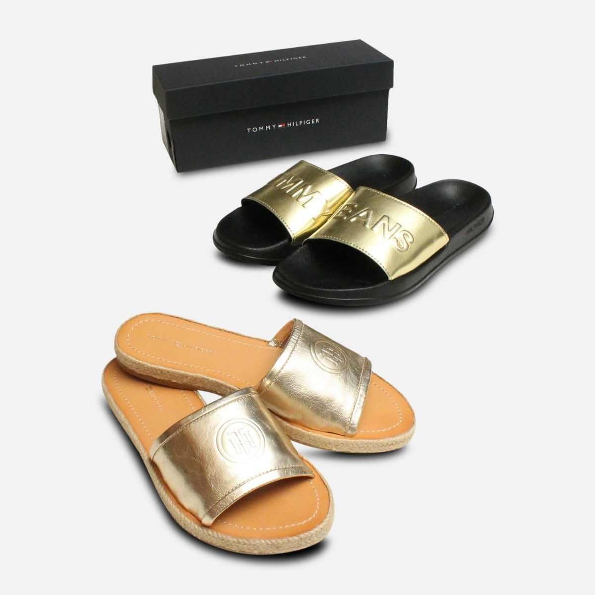 7d2873e33 Pool Slides by Tommy Jeans in Black   Gold Metallic