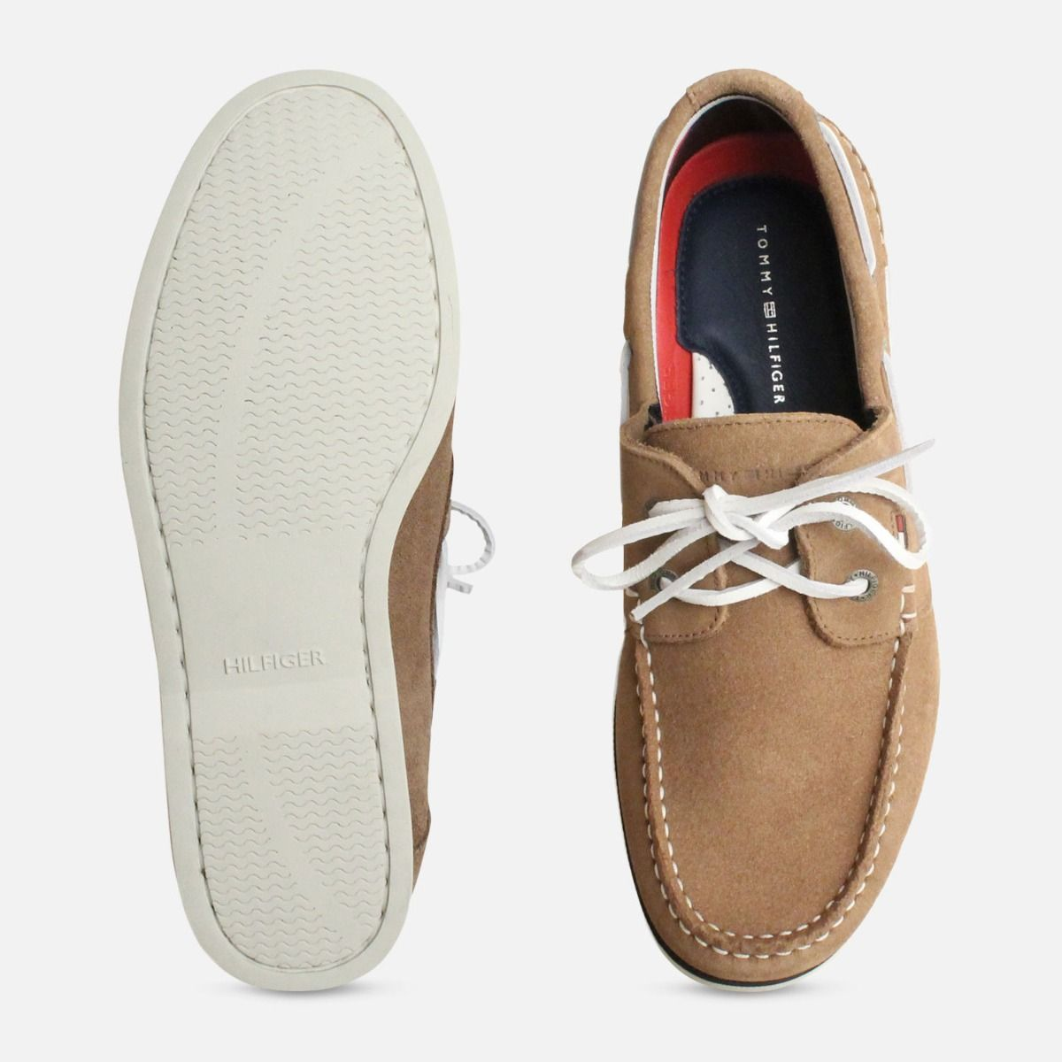 Tommy Hilfiger Knot Taupe Suede Mens Deck Shoes