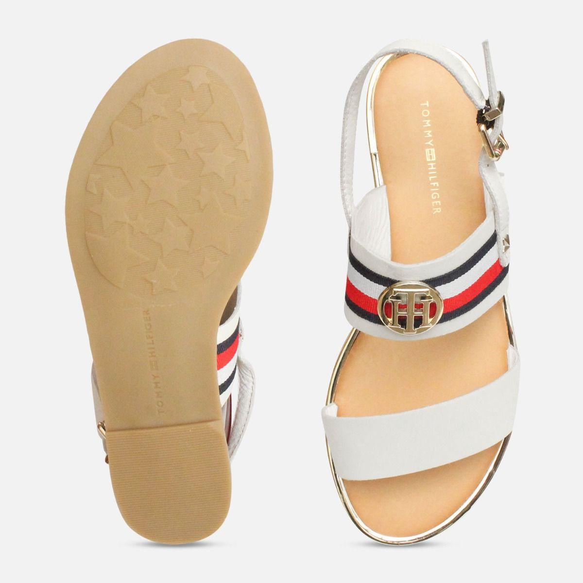 Tommy Hilfiger White Summer Sandals with Gold Trim