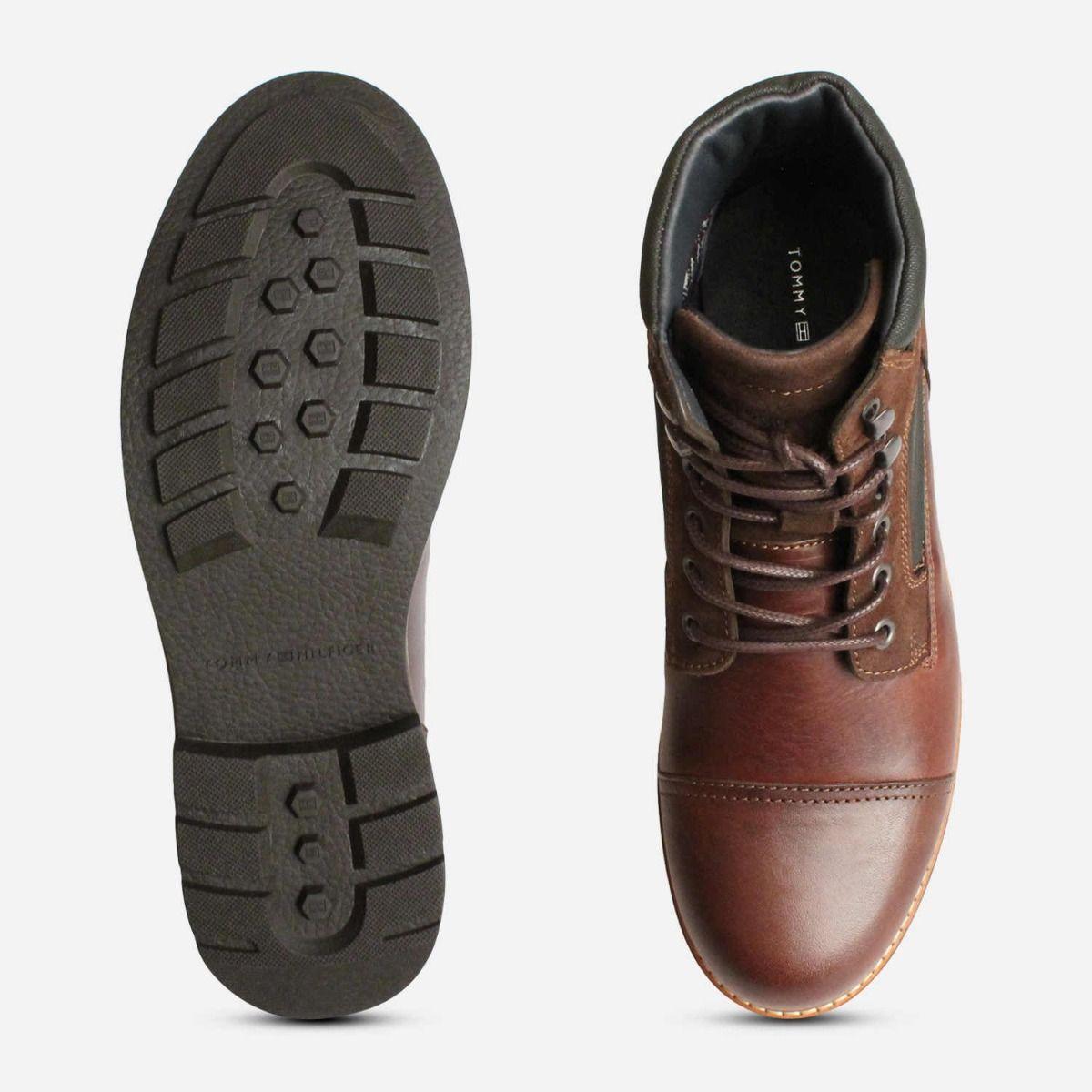 Tommy Hilfiger Coffee Brown Leather Urban Trekking Boot