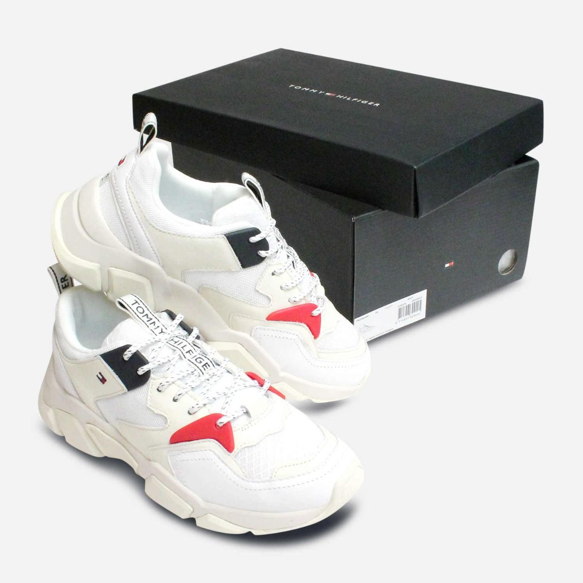 White Tommy Hilfiger Designer Ladies Chunky Trainers