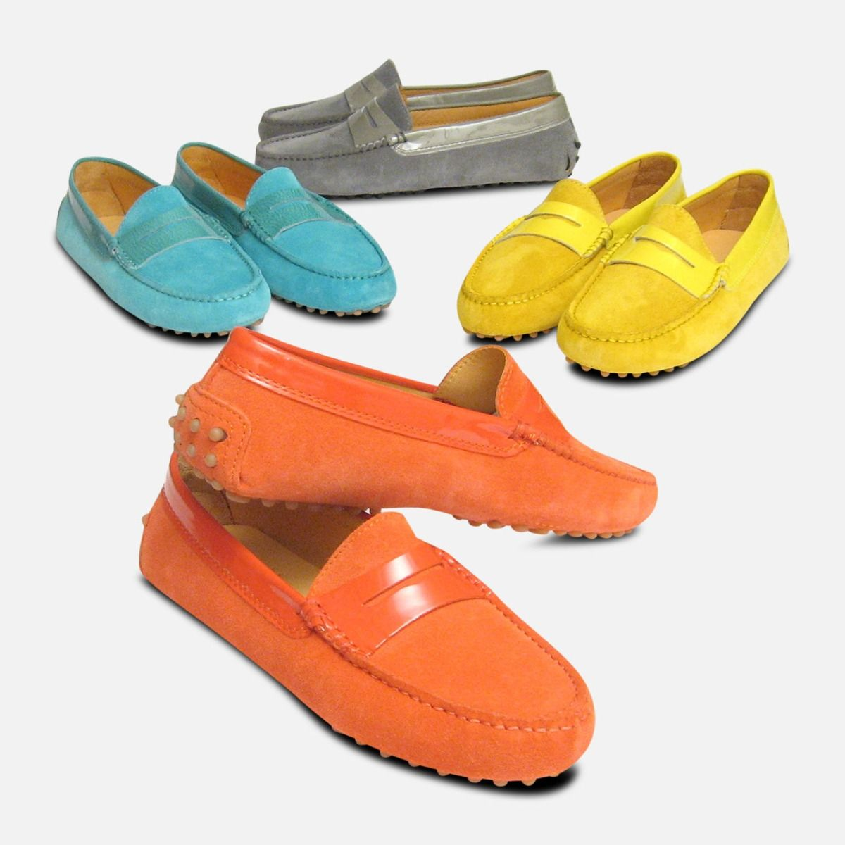 Turquoise Suede & Patent Leather Designer Ladies Arthur Knight Shoes