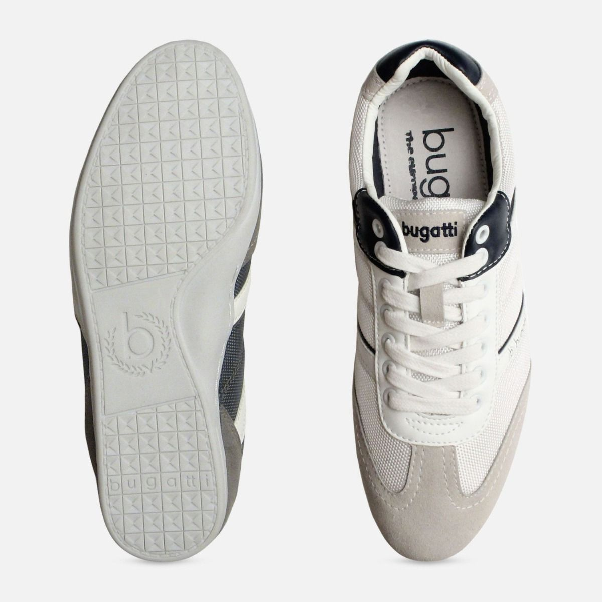 Grey & White Designer Bugatti Sneakers