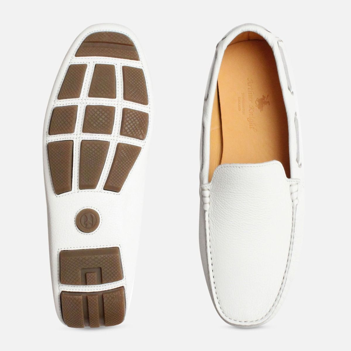 White Leather Mens Driving Shoe Moccasins