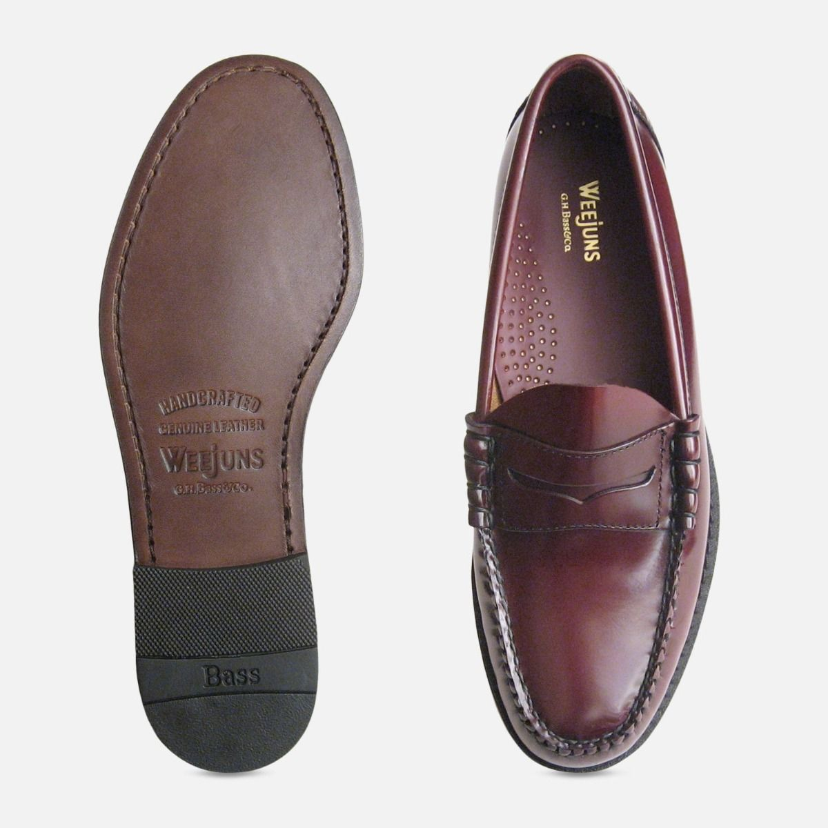 Classic Mens Burgundy Wine Larson Penny Loafers GH Bass Weejuns