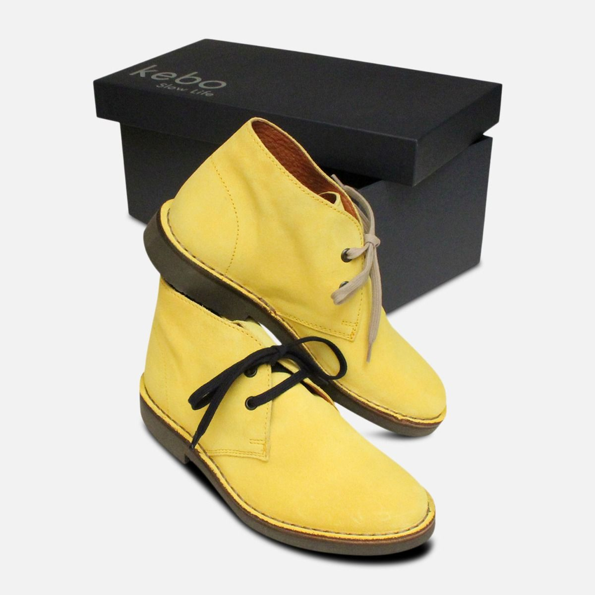 Taxi Yellow Suede Womens Italian Desert Boots