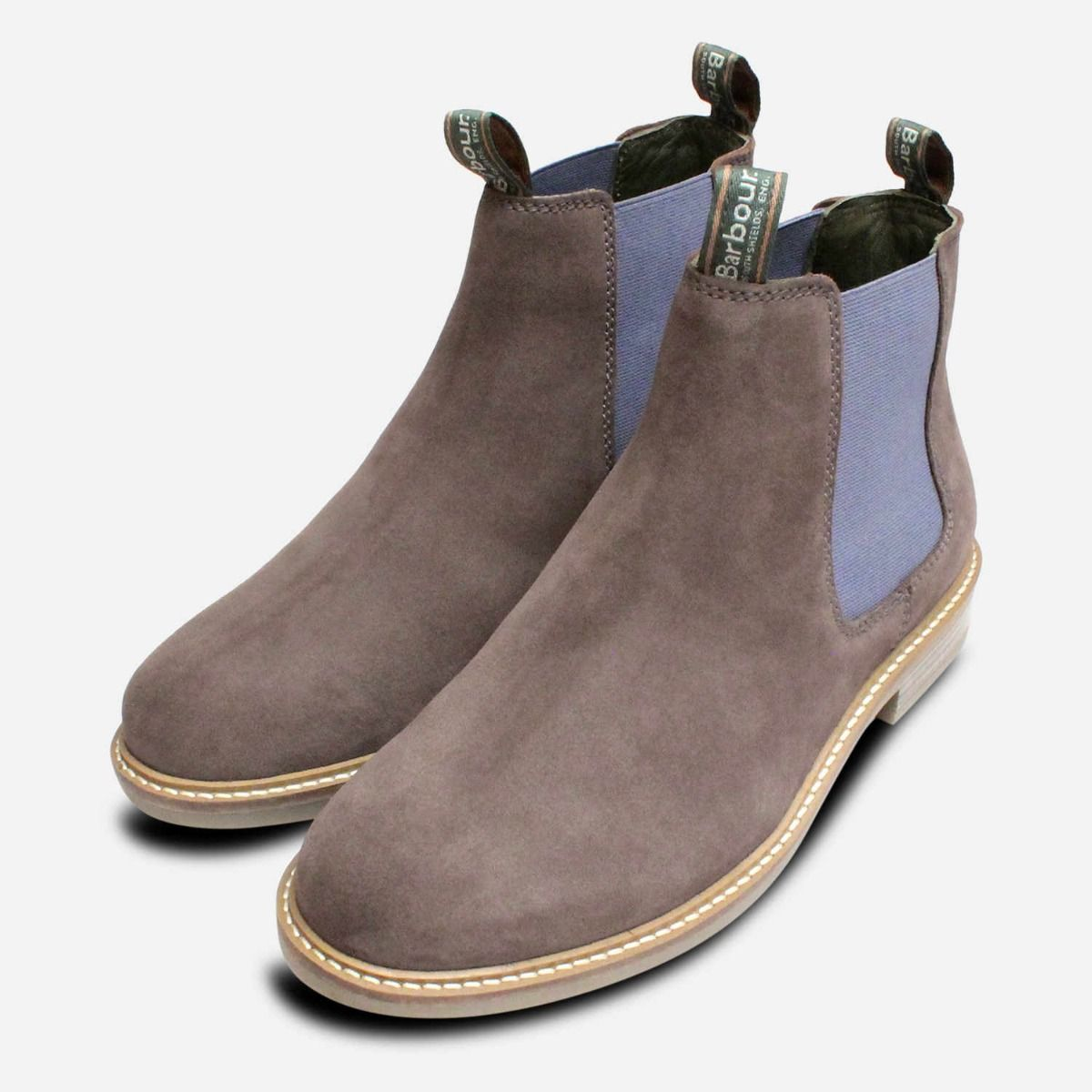 369e1444 Grey Suede Barbour Farsley Chelsea Boots Blue Elastic