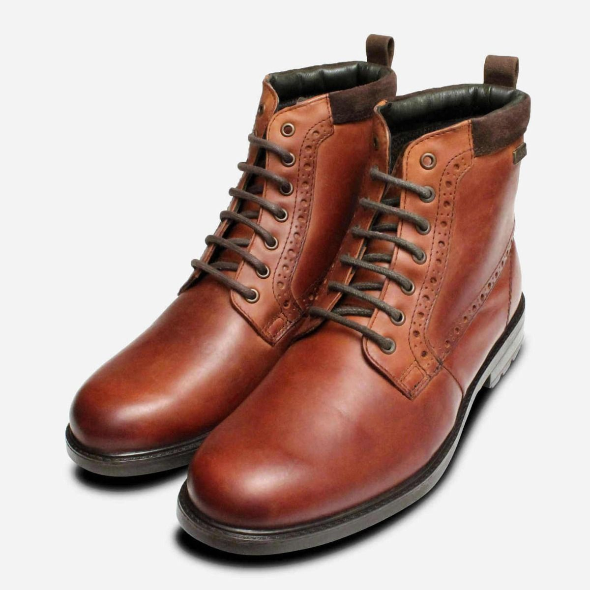 06a20a72ac93 Barbour Hury Mens Walking Boots in Waxy Tan Leather