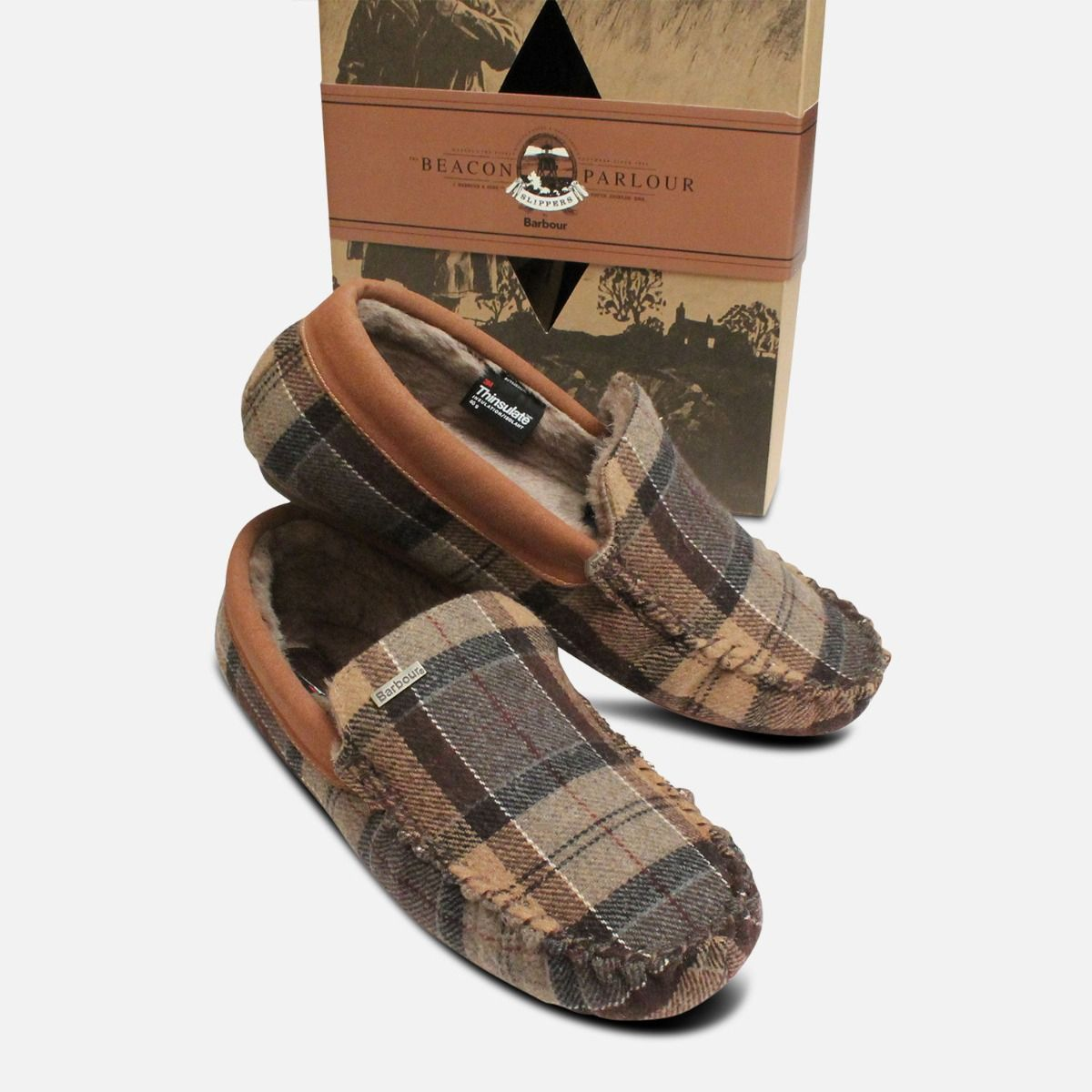 822c2bfb0ebb Barbour Thinsulate Warm Tartan Mens Slippers in Camel