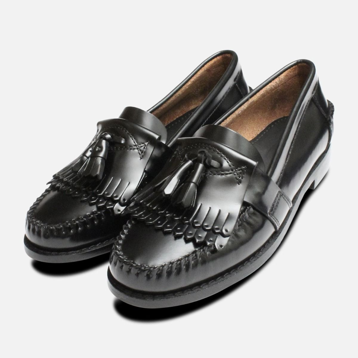 f43c9fb3650 Ladies Black Double Fringe Tassel Elspeth Loafers