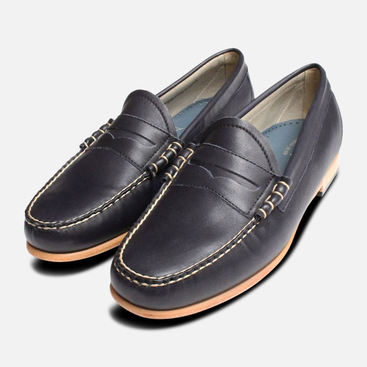 ab0576afb15 Navy Blue Bass Weejun Mens Loafers Leather Sole