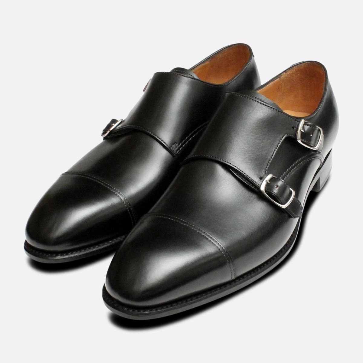 0c24ec07806e0 Carlos Santos Double Buckle Monk Strap Black Shoes
