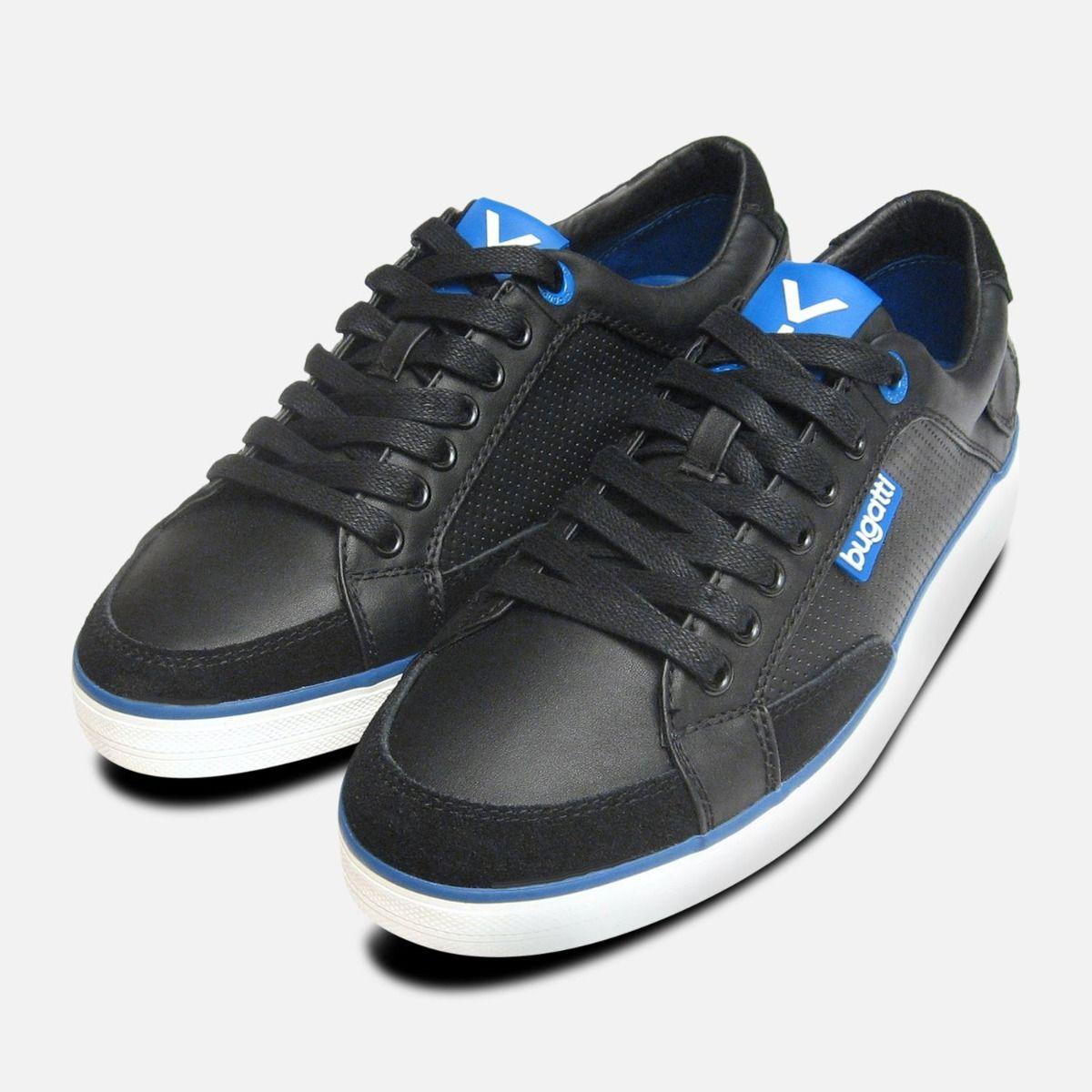 56e13f49498dea Black   Navy Blue Leather Mens Designer Trainers by Bugatti Sneakers