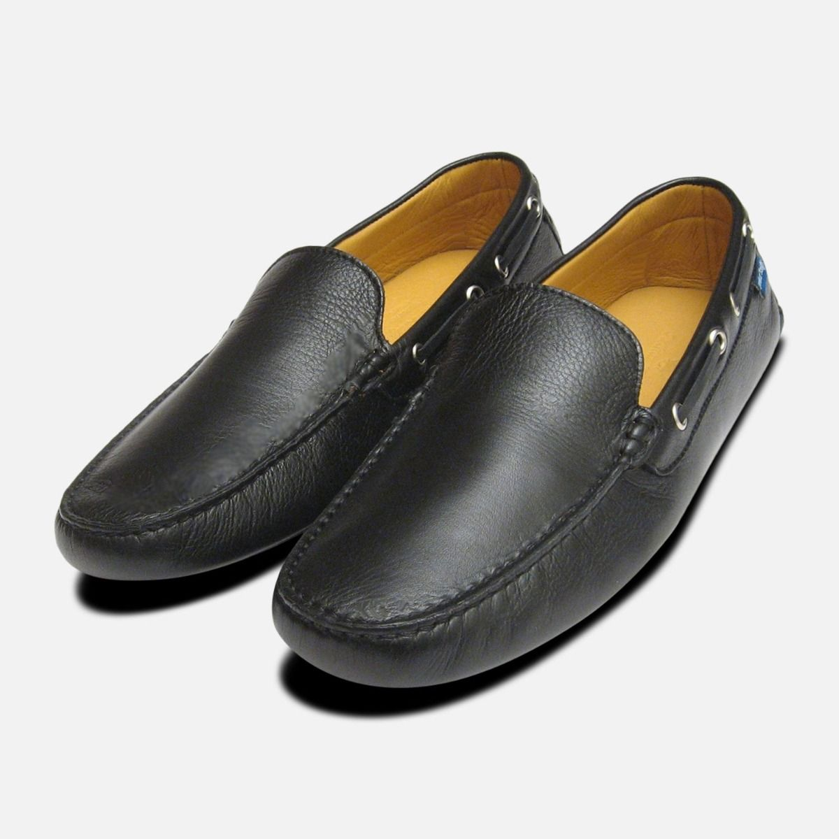 8db2e63b37 Black Calf Leather Italian Driving Shoes for Men by Arthur Knight