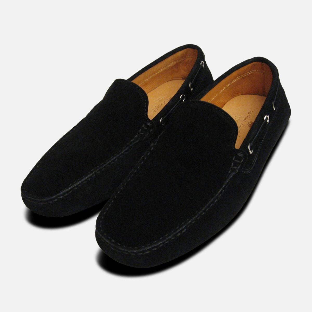 2cfc3c820ac44b Mens Black Suede Italian Driving Shoe Moccasins